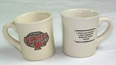 VINTAGE SET 2 JACK DANIELS TENNESSEE MUD RECIPE COFFEE MUGS BARWARE DRINKING for sale  Shipping to Canada