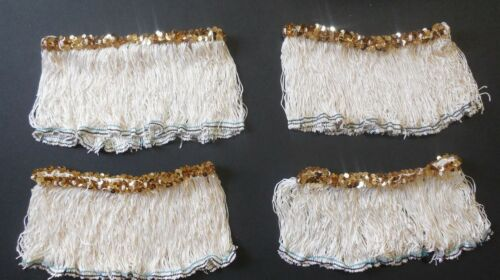 "Lot of 4  Fringe Skirts 5"" Length Candlelight Gold Stretch Sequin Trim  Child"