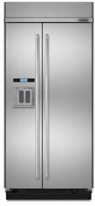 "Jenn Air JS48PPDUDB 48"" Side-By-Side Built-In Refrigerator with Water Dispenser"