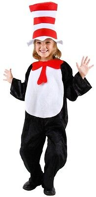 Cat In The Hat Costume For Girls (Child Kids Cartoon Book Dr. Seuss Cat in the Hat Bodysuit with Tail)