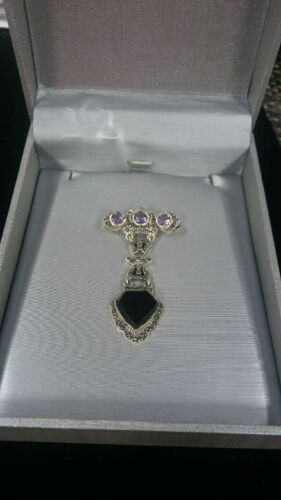 Sterling Silver Brooch With 4 Purple and Black Stones 6.8 Gr