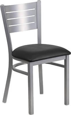 Lot Of 30 Silver Slat Back Metal Restaurant Chair - Black Vinyl Seat