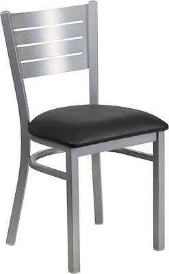Silver Slat Back Metal Restaurant Chair - Black Vinyl Seat