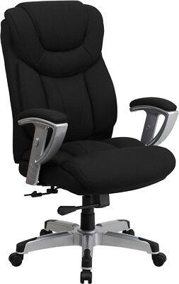 Big & Tall 400 Lb Capacity Black Fabric Executive Office Desk Chair with Arms Fabric Executive Desk Chair
