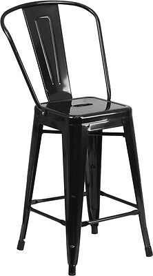 Metal Black Counter Stools - 24'' Black Metal Indoor-Outdoor Counter Height Stool - Industrial Style Stool