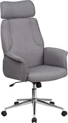 High Back Gray Fabric Executive Swivel Office Conference Chair With Chrome Base