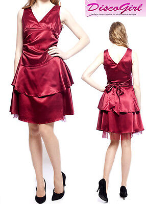 SALE! Red Satin Evening Dress Prom Party Dress Bridesmaid Dress SIZE UK 16