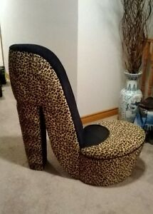 $150 each. 2 different high heel chairs. Leopard print & zebra