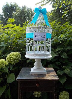 XL Wedding Bird Cage on Wood Pedestal, Wedding Card Box Birdcage Money Holder