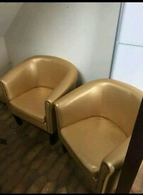 Gold armchair leather bucket seat x2 and footstool