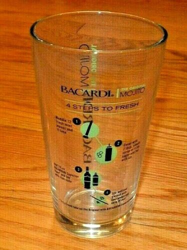 SET OF 2 - BACARDI Mojito Bar Pint Glasses With Recipe On The Glass