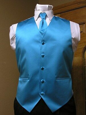 Vest Mens Turquoise Satin Neck Tie Tuxedo Steampunk Wedding Prom Full Back ()