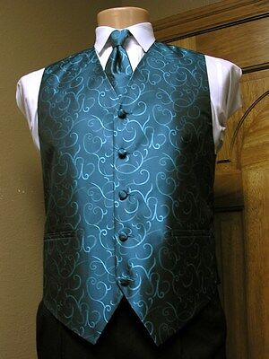 Vest Oasis Blue Peacock Regal Full Back Neck and bow Tie Scroll Tuxedo Wedding