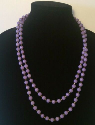 """Vintage Purple Bronze Plastic beads Necklace with Bronze Clasp Extra Long 50"""""""
