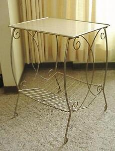 Mid Century Retro Curlicue Brass Side Table with Reversible Formica Top with Magazine Rack