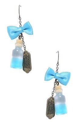 Wonderland Bow (Disney Alice In Wonderland Bottle Bow Drop Earrings New With)