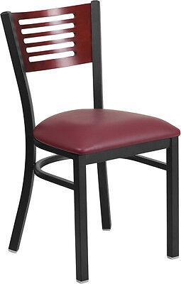 Lot Of 20 Black Decorative Slat Back Metal Restaurant Chair - Mahogany Wood Back