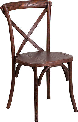 Bistro Style Cross Back Mahogany Wood Stackable Restaurant Chair