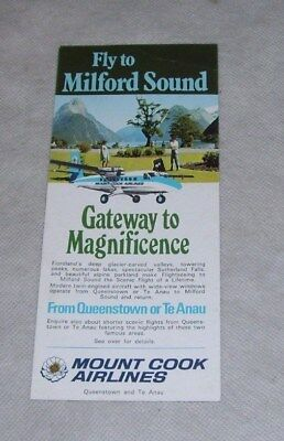 MOUNT COOK AIRLINES FLY TO MILFORD SOUND LEAFLET QUEENSTOWN TE ANAU NEW ZEALAND