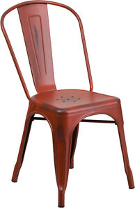 INDUSTRIAL RESTAURANT TOLIX STYLE METAL DINING CHAIR