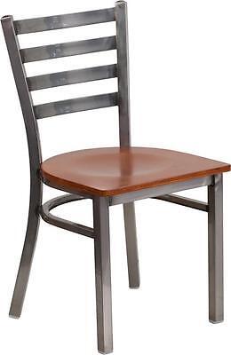 Hercules Series Clear Coated Ladder Back Metal Restaurant Chair-cherry Wood Seat