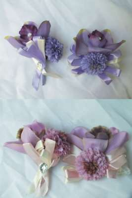 Groom Flower Set (2pc Set Wedding Boutonniere Corsage Quinceanera Bride Groom Silk Flower Orchid )