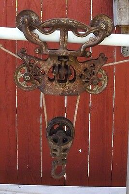 BEAUTIFUL Vintage PORTER Cast Iron Hay Carrier Trolley Barn Pulley Light