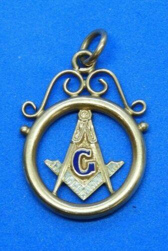 Vintage 14K Yellow Gold Masonic Pendant with Blue & White Enamel