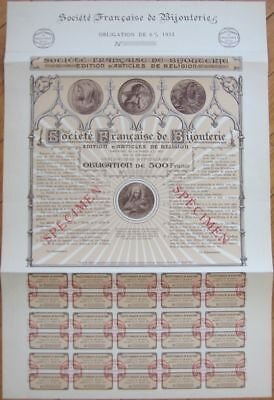 1932 SPECIMEN Bond-Religious Items-Bijouterie Francaise