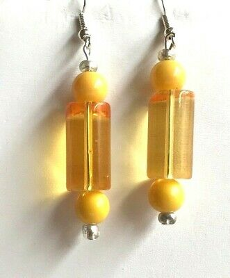 Amber Murano Glass Drop (Retro Glass Bead Earrings Silver Amber Yellow Murano Style Dangle)