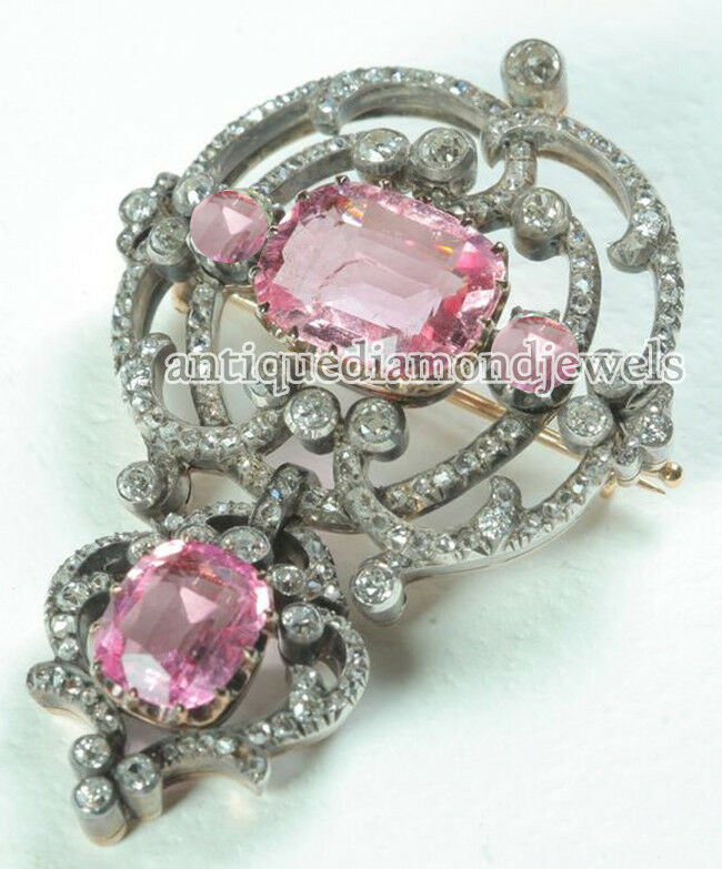 3.65ct ROSE CUT DIAMOND TOURMALINE 925 SILVER ANTIQUE VICTORIAN LOOK  BROOCH