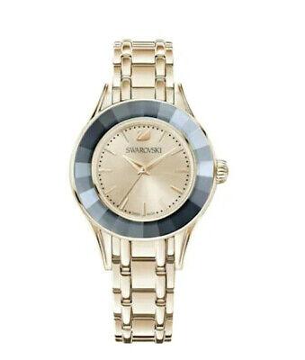 Authentic Swarovski Alegria Champagne Gold Tone Gray Crystal Watch 5368924 NEW