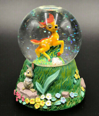 "Vintage BAMBI 3"" Mini Water Snow Globe DISNEY 2000s Glitter THUMPER Flower"