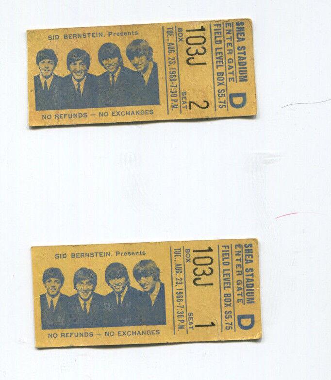 THE BEATLES PAIR OF TICKET STUBS CONSECUTIVE SEATS! AUGUST 23, 1966 SHEA STADIUM