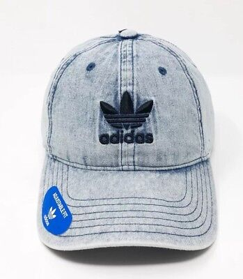 adidas Originals Relaxed Strap Back Cap Hat Washed Blue Denim Trefoil NWT