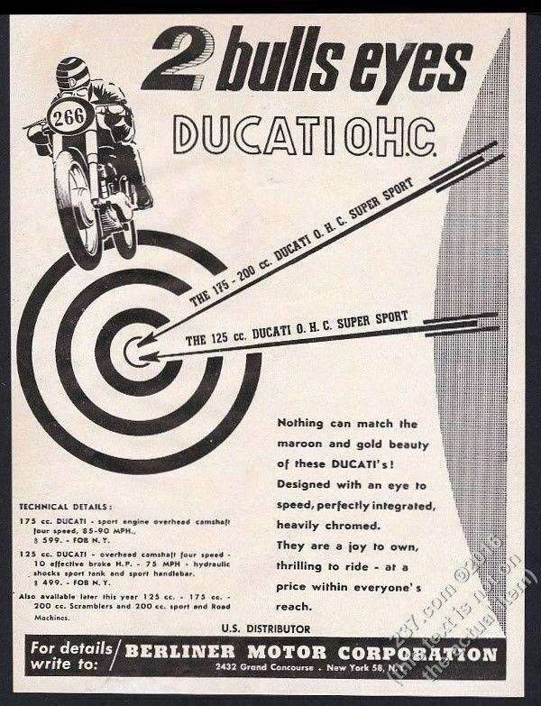 1959 Ducati racing motorcycle illustrated vintage print ad
