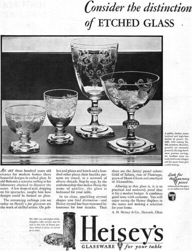 Heisey Etched Glass GOBLET Oyster Cocktail SHERBET Large 1931 Magazine Ad