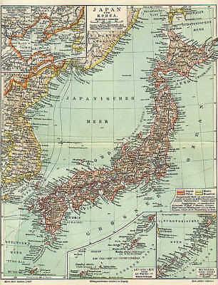 Kurilen (JAPAN Nippon KOREA Hondo alte LANDKARTE von 1897 Kiushiu Jeso Kurilen Skikoku)