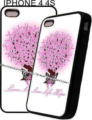 Apple Pink Ribbon -  Pink Womens Breast Cancer Ribbon Phone Case Cover 4 For Apple IPhone 4 4s 5 5s