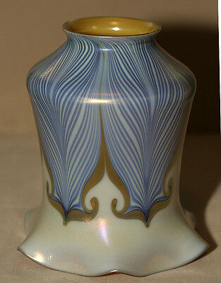 Blue Double Hook Feathered Art Glass Shade Unsigned Quezal or Lustre Art **LOOK*