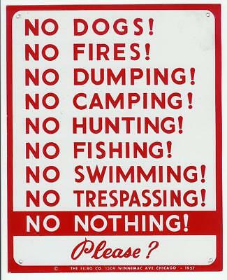 No Trespassing Fishing Hunting Camping Original 1957 Tin Metal Sign Vintage