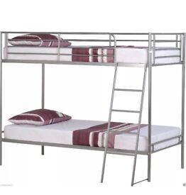 Silver metal bunk beds excellent condition no mattress.s