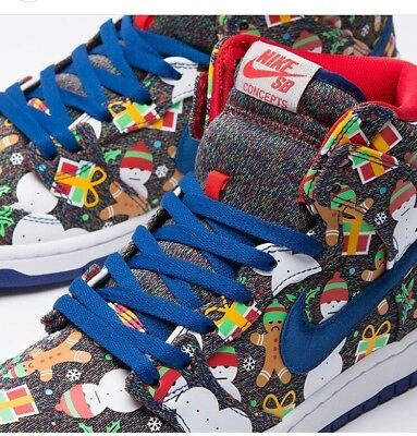 Nike SB Dunk High TRD QS Ugly Sweater Christmas Concepts 881758-446 Size 6Y Db