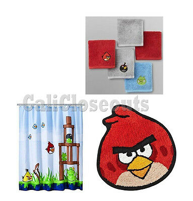 Angry Birds BATH GIFT SET - Shower Curtain, Washcloth Towels, BATH RUG (Angry Birds Bath Rug)
