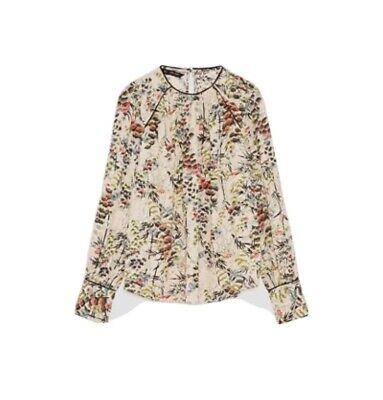 Zara Floral Print Top Blouse Size L