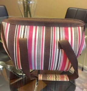 Pink striped insulated lunch bag