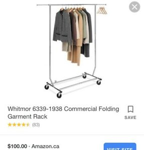 Stainless Steel Heavy Duty Clothing Garment Rack Collapsible