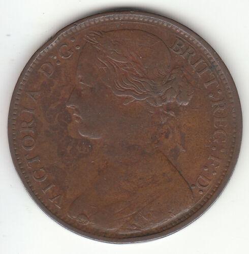 1861 Great Britain Queen Victoria 1 One Penny.  Nice Grade.
