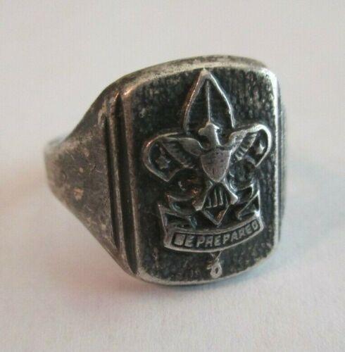 Vintage Sterling Silver Be Prepared Fleur de Lis Signet Ring Boy Scouts Sz 7