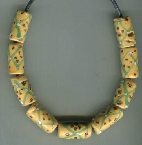 African Trade beads Vintage Venetian glass beads old yellow fancy eye beads